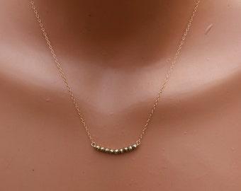 Gold Hematite Necklace, Gold Hematite Bar Necklace, Curved Gold Bar Necklace, Minimalist, Dainty Necklace, Gold Gemstone Necklace