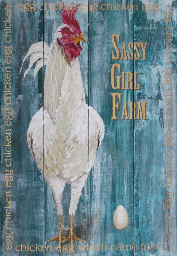 Sassy Girl Farm original acrylic painting on repurposed wooden panels