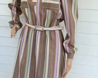 Striped Secretary Dress Beige Pastel Stripe Belted Vintage 80s JCPenney M S