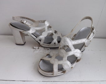 Silver Platforms Sandals Disco Heels Shoes Open Toe 5 B Metallic 70s Summer Qualicraft