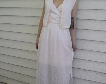 70s Swiss Dot Dress White Sheer Spring Summer Stellas New Old Stock Vintage 1970s XS S