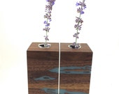 Small Walnut Vase Set with silver blue inlay -  Wedding Gift, 5th Anniversary Gift, House Warming Gift
