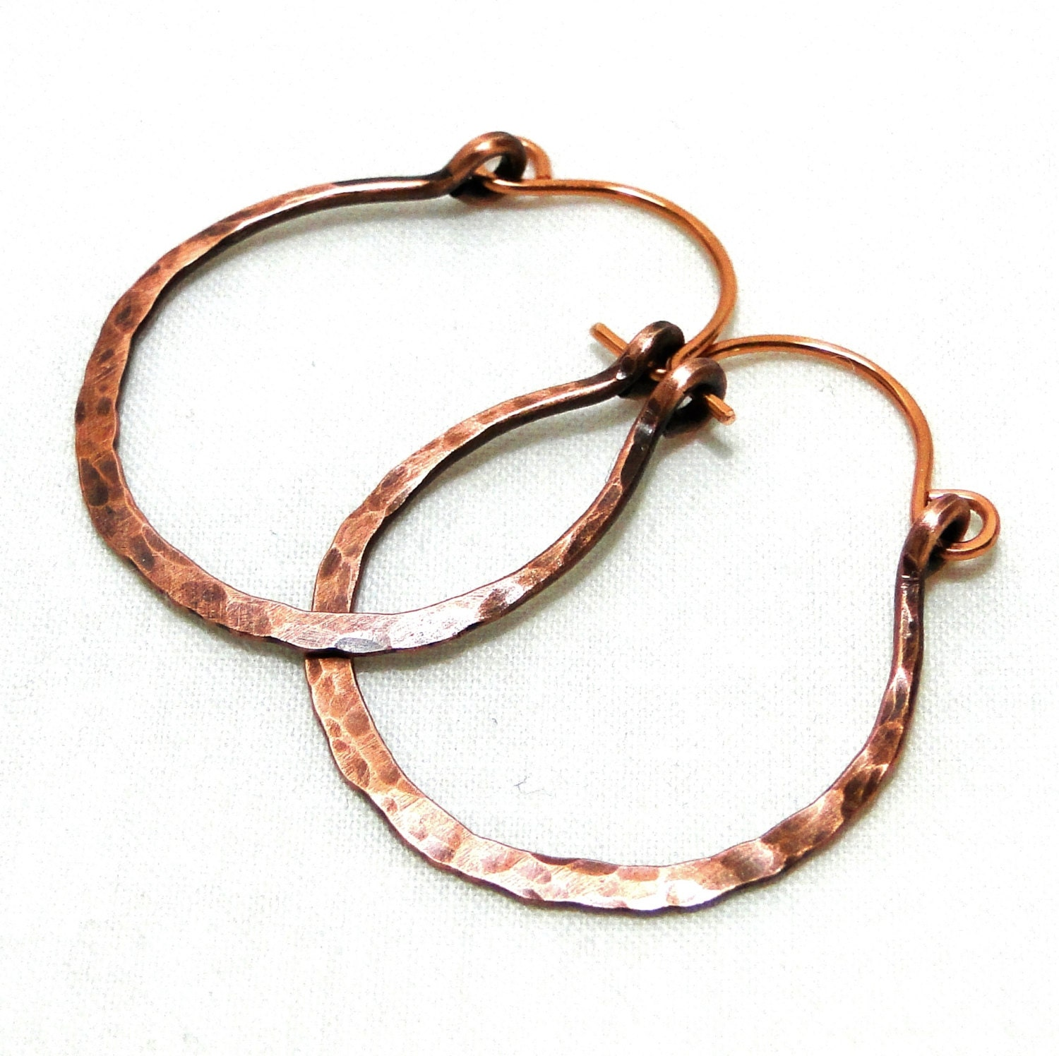 flattened hammered hoop earrings copper wire jewelry medium
