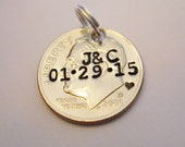 10 Year Anniversary Gift: DIME Pendant Keychain Charm; 10th Wedding; Custom Stamped Initials/Date; Personalized Couples; 2016 + UNCIRCULATED