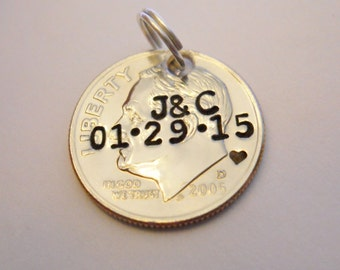 10 Year Anniversary Gift: DIME Pendant Keychain Charm; 10th Wedding; Custom Stamped Initials/Date; Personalized Couples; 2017 + UNCIRCULATED
