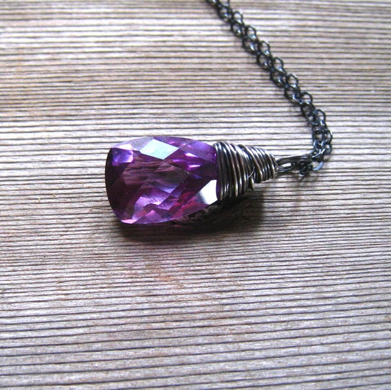 Wire Wrapped Lab Created Alexandrite Necklace