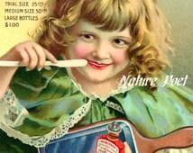 Vintage Rubi Foam Dental Poster, Printable, Digital Art Image Instant Download Children's Decor Office Decor