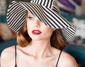 Sun Hat,  Black & White Striped hat, Wide Brim Hat, Floppy Hat, Black Sun Hat, Striped Sun Hat, Boho Hat, Travel Hat, Sale Sun Hat