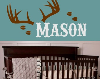 Superbe Hunting Wall Decal Antlers With Name  Boy Or Girl Room Decor Personalized  Vinyl