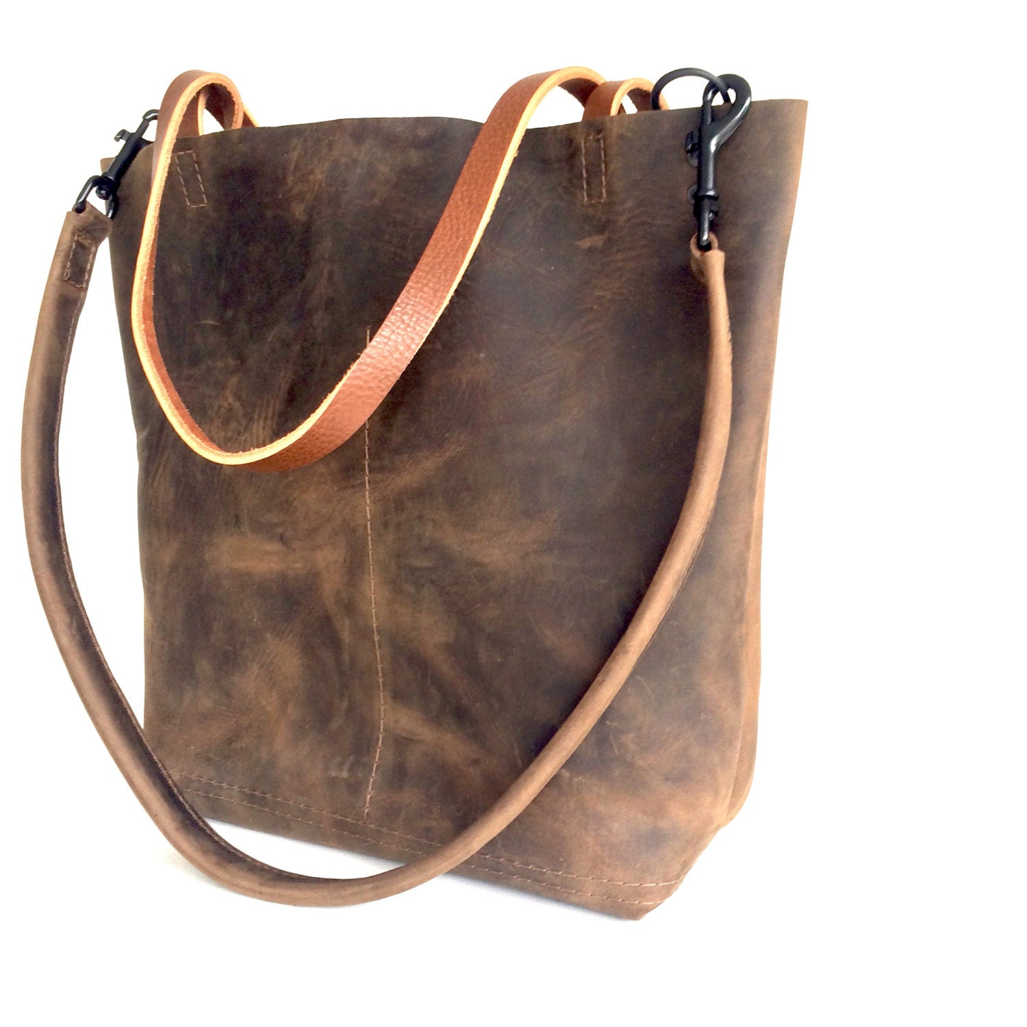 dark brown leather tote bag marbleized brown leather