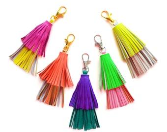 Leather Tassel Key Chain, Purple and Emerald Green Tassel Fringe, Layered Key Chain, Bag Purse Charm, Leather Key Fob, Leather Accessories