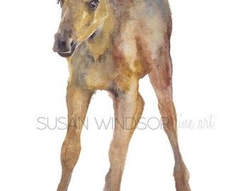 Moose Calf Watercolor Painting Greeting Card - Blank 5x7