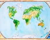 "Animal Map, Illustration Fine Art Print, Giclee World Map, Watercolor Painting ""Roam the Globe"" - LARGE"