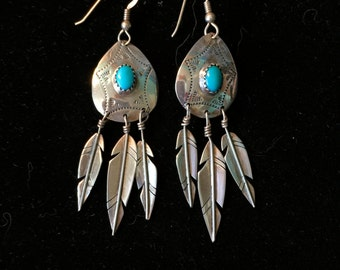 Turquoise and Silver Navajo Dangle Earrings