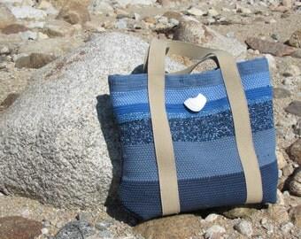 Womens Summer Tote Bag, Nautical Beach Cottage Shoulder Bag, Ocean Sea Blue Fashion Bag, Woven Large Purse Market Bag, Overnight Travel Bag
