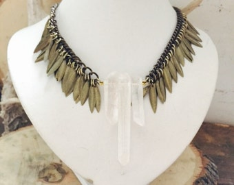 Brass Statement Collar Neckpiece/ Quartz Crystal Choker/ Crystal Quartz Necklace/ Natural Gem Stone/ Tribal Colla/ Boho Wedding