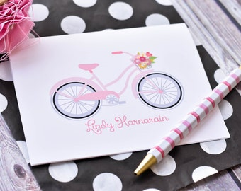 Personalized Stationery - Personalized Note Cards - Personalized Stationery Set - Stationary Set - Bicycle Note Cards Pink Set