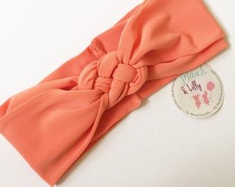 Sailor knot headband, nautical headband, coral