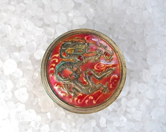 Antique Chinese Enamel and Brass Dragon Motif Snuff Box - Circa 1930's - Red Jewelry Box - Trinket Box