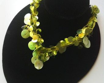 Choker necklace,light Green Multi-Strand Necklace,Layered,Layering Hand Made,collar Necklace,Sequin bedouin Jewelry by Taneesi