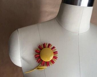 vintage mod retro flower brooch/ enamel painted flower pin / brooch / mustard orange pin / vintage 60's jewelry