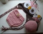 Newborn Owl Set, Crochet Stuffed Owl, Newborn Diaper Cover Set, Owl Photo Prop, Crochet Photo Prop, Newborn Owl Hat, Girls Owl Hat