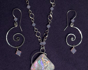 Pale Pink Glass Pendent with Hammered Sterling Silver Swirl, Swarovski Crystals, and Matching Earrings - Cyberlily