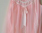 Vintage 50s 60s Pink Babydoll Gown