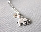 Personalized Initial Elephant Necklace