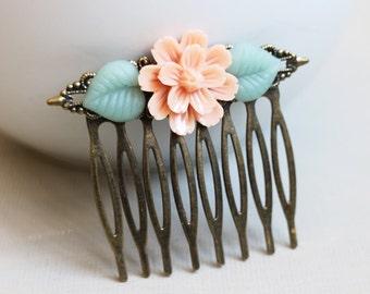 Peach Flower Hair Comb. hair clip. filigree barrette. hair accessory. vintage wedding. bridesmaid accessory