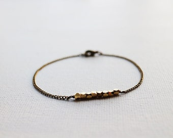 Brass Faceted Beads Bracelet. brass nuggets bracelet. minimalist bracelet. simple style bracelet. stacking bracelet