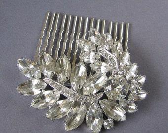 Vintage Crystal Leaf Comb - Wedding Hair Comb - Leaves, Vintage Style, Old Hollywood