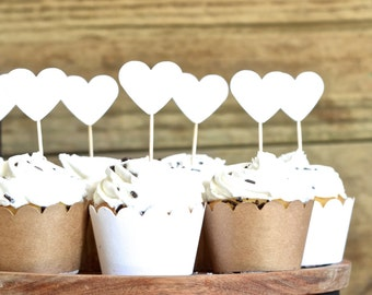White Heart Cupcake Toppers