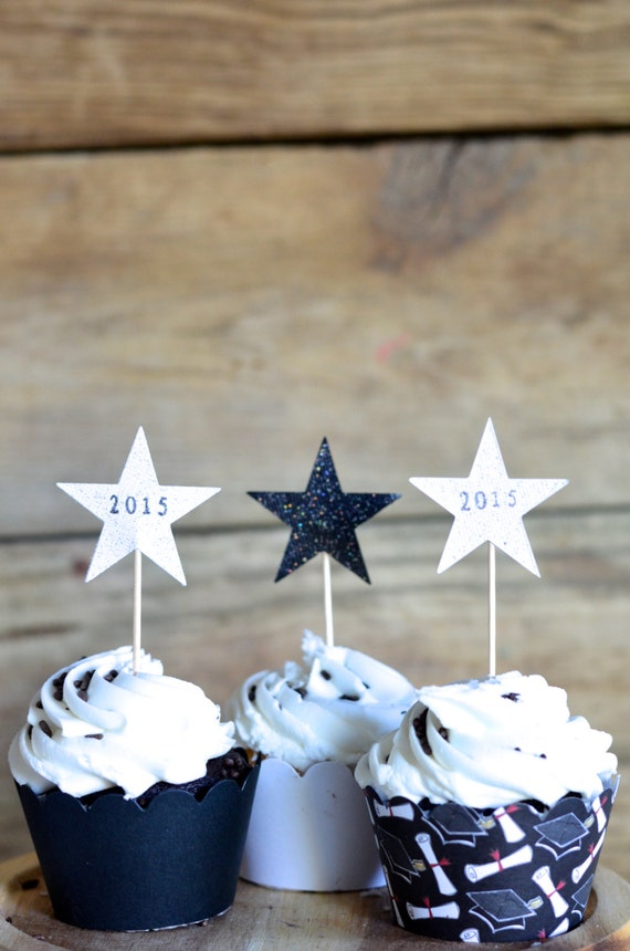 Graduation Black and White Sparkle Star Cupcake toppers, hand stamped 2017 Graduation stars