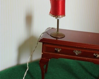 Miniature Dollhouse Electric Lamp Red Satin Shade