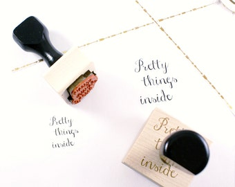 PRETTY THINGS INSIDE rubber stamp | wood stamp with cursive font for happy mail, gift wrapping and packages