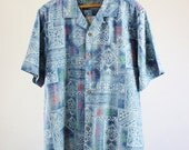 SALE - Vintage Blue Batik Silk Print Shirt Tropical Island Style Surf Shirt - Mens Size Medium