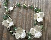 silver flower bracelet, green beaded bracelet, floral bracelet, Georgia O'keeffe, silver bracelet, ready to ship, gardener gift, florist