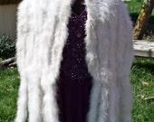 Marabou Evening Stole, 7 Feet Long, Marabou Fur, White, Satin Lining, Fur, Evening Wrap, Shawl, Formal, Dress Up, Costume, Free US Shipping