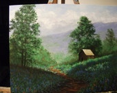 Texas Bluebonnets, Indian Paintbrush Flowers, Path, Barn, Trees, Mountains Original Landscape Oil Painting