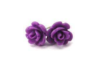Mini Purple Rose Post Earrngs- Surgical Steel Post Earrings- 9mm