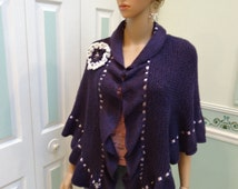 READY TO SHIP : Knit Shawl, Princess Kate Middleton shawl, purple, hand knitted in my design, lavender satin ribbon ,with floral rosettes