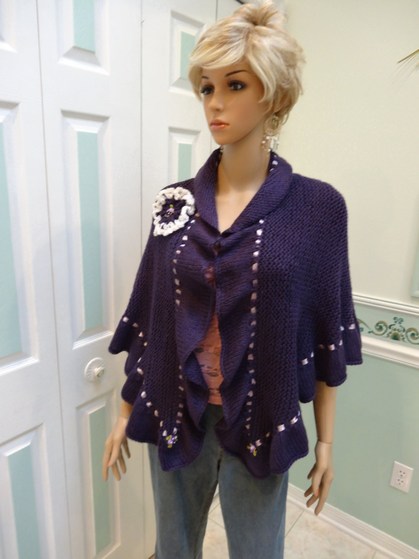 SHAWL Princess Kate Middleton shawl purple hand knitted in