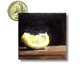 Night fruit lemon wedge original mini gouache painting on canvas