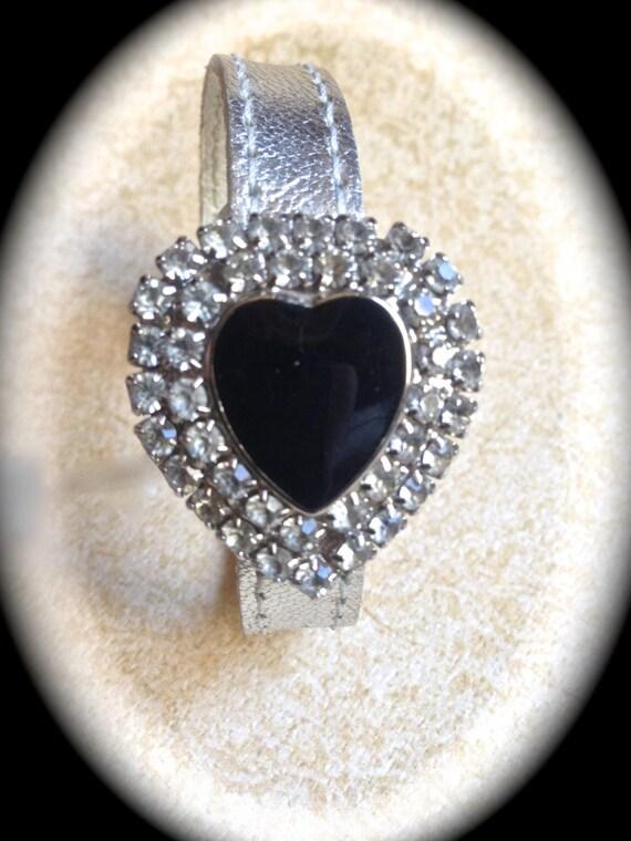 Rhinestone Heart Bracelet-Vintage Heart bracelet-Silver Leather Bracelet- Black Enamel Heart-Statement Jewelry-Handmade Jewelry- Unique