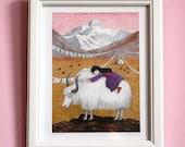 Yak's Dream / 8x10 Fine Art Print / Little Mountain Girl Illustration / Folk Art Print, Pastel Watercolor