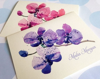 Personalized Greeting Card Set, Floral Note Cards, Set of 6