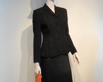 Osterreich for the Fall - Vintage 1940s WW2 Black Wool Suit Jacket w/Rust Speckling - 4/6