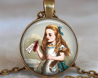 Drink Me Alice necklace, Drink Me pendant Alice in Wonderland pendant, Drink Me necklace, Wonderland jewelry keychain key chain