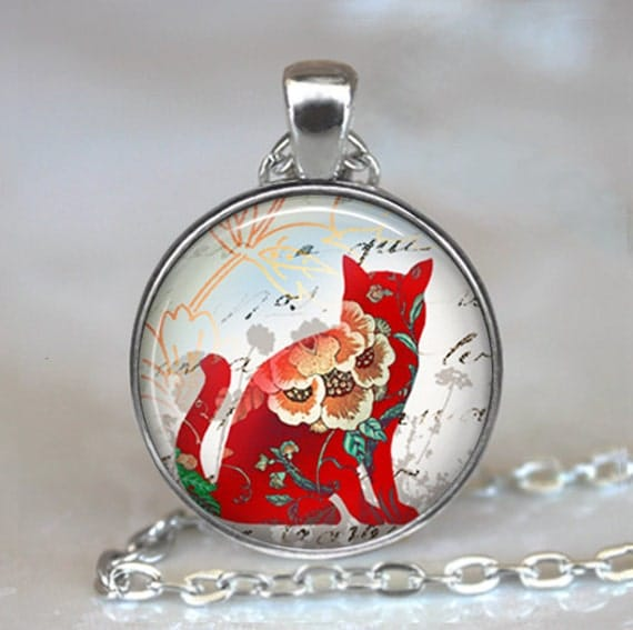 Red Calico Cat pendant, cat necklace, cat jewelry, cat jewellery, colorful cat necklace, cat lover gift cat keychain cat key chain key fob